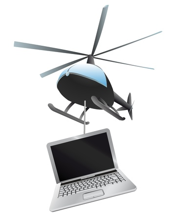 helicopter delivery of new notebook Stock Vector - 21660074