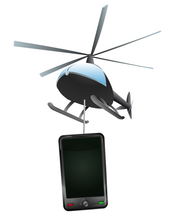 helicopter delivery of modern smartphone  Vector