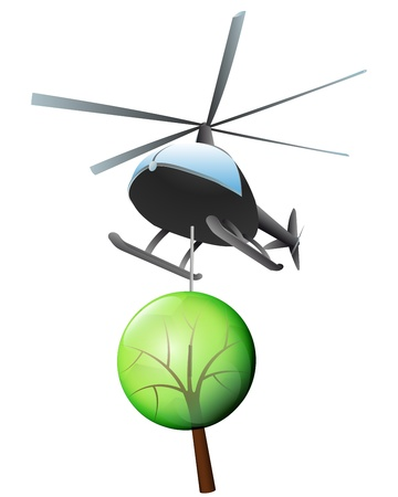 helicopter transport of endangered tree  Vector