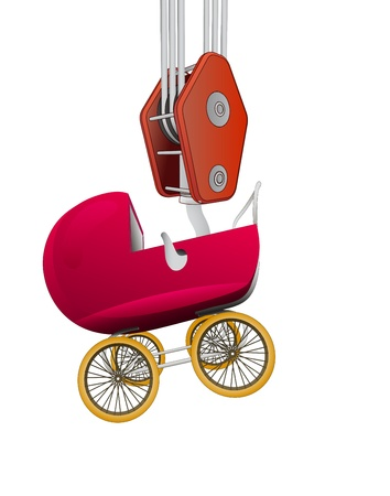 hook transport of baby carriage  Illustration