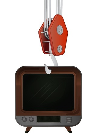 outdoor goods: hook transport of retro television
