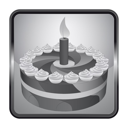 black and white icon with birthday cake  Vector