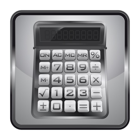 black and white icon with business calculator Stock Vector - 21660114