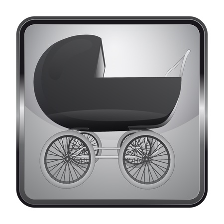 black and white icon with baby carriage Vector