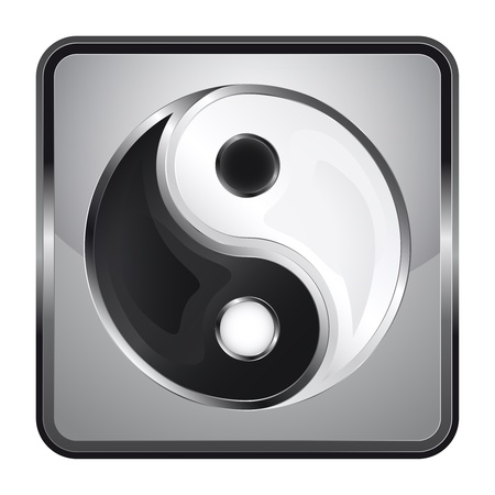 chinese philosophy: black and white icon with yin yand symbol  Illustration