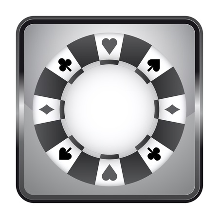 black and white icon with poker chip  Vector