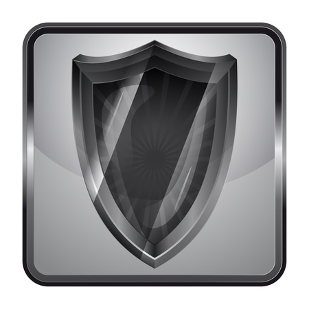 antiviral: black and white icon with antiviral shield  Illustration