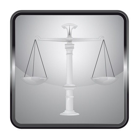 black and white icon with weight of justice Vector
