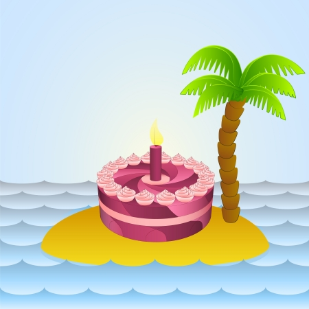 lonely island with holiday cake celebration  Vector