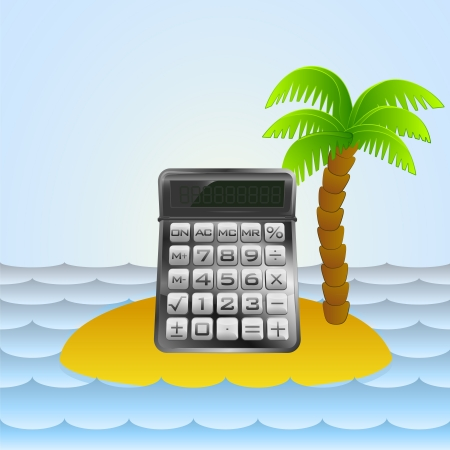 lonely island with holiday calculator  Vector