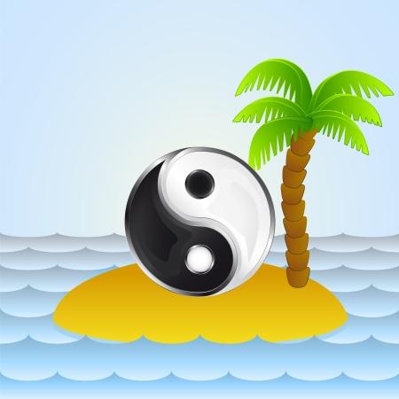 Einsame Insel mit Yin-Yang-Meditation Standard-Bild - 21660134