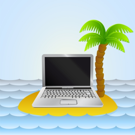 lonely island with notebook internet surfing  Vector