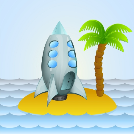 lonely island with space ship cosmic travel  Vector