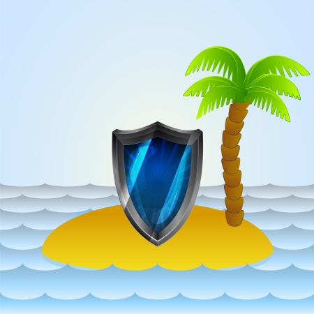 lonely island with shield protection  Vector