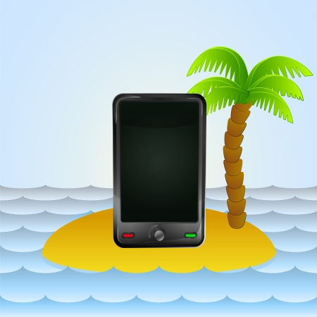 lonely island with smart phone navigation  Vector