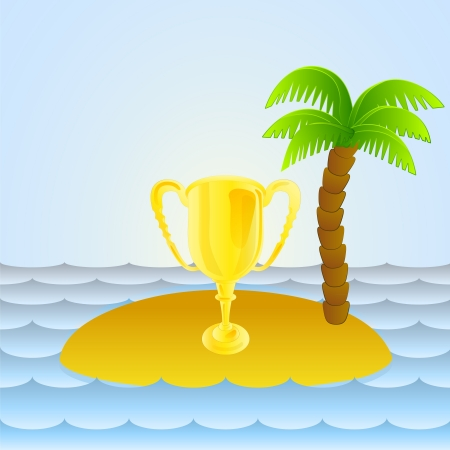 lonely island with holiday champion cup  Vector