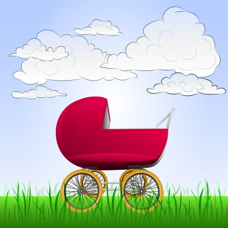 baby carriage: baby carriage in peaceful landscape