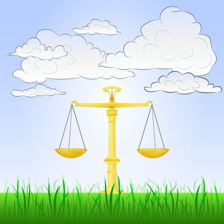 weight of liberty in peaceful landscape  Vector