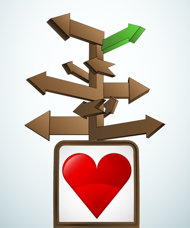 new love: signpost navigation to new love  Illustration