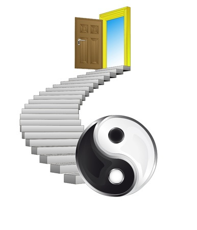 spiral stairs: stairway leading to yin and yang harmony