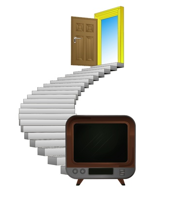stairway leading to television entertainment  Stock Vector - 21660248