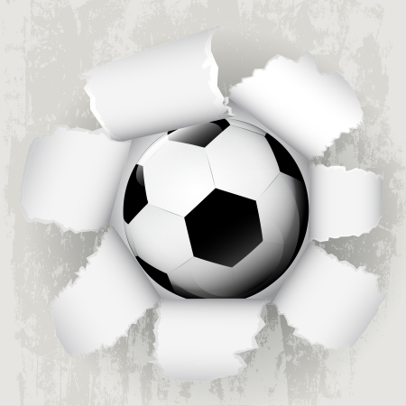 torn paper revelation of new football ball  Stock Vector - 21660244