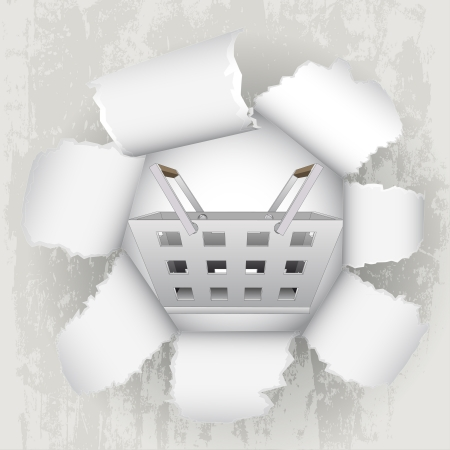 revelation: torn paper revelation of shopping basket