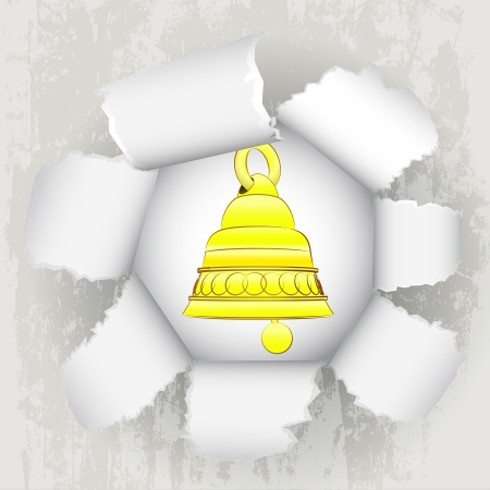 torn paper revelation of golden bell welcome Stock Vector - 21660250