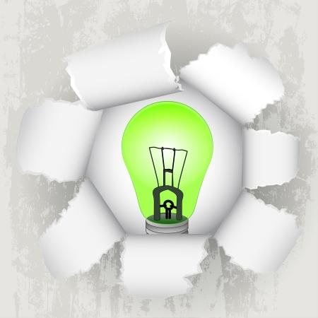torn paper revelation of green energy Stock Vector - 21660252