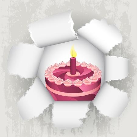 torn paper revelation of birthday cake  Stock Vector - 21660254