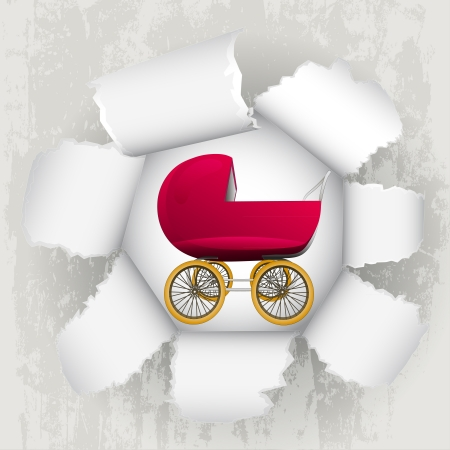 torn paper revelation of newborn in carriage  Stock Vector - 21660256
