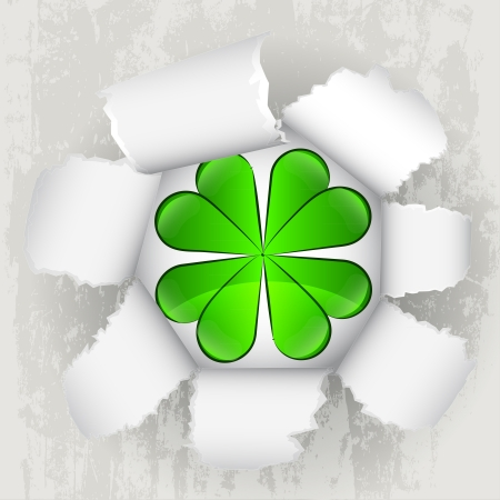 torn paper revelation of cloverleaf luck  Stock Vector - 21660257