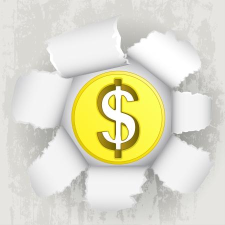 torn paper revelation of golden dollar coin Stock Vector - 21660262
