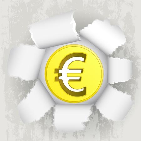 torn paper revelation of golden euro coin Stock Vector - 21660259