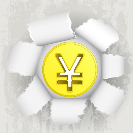 torn paper revelation of golden yuan coin Stock Vector - 21660261