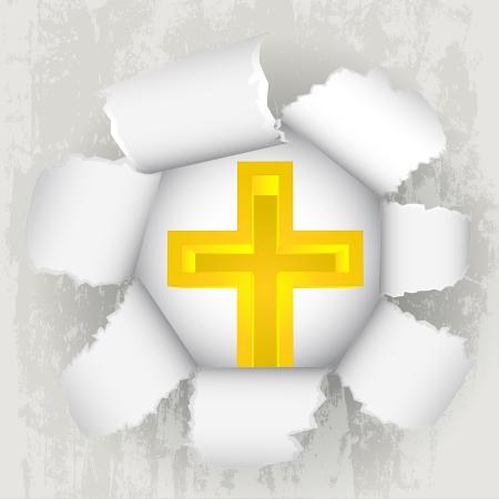 torn paper revelation of golden christian cross Stock Vector - 21660269