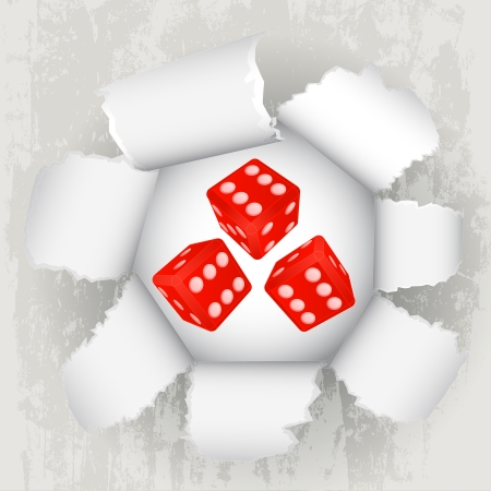 torn paper revelation of dice luck Stock Vector - 21660267