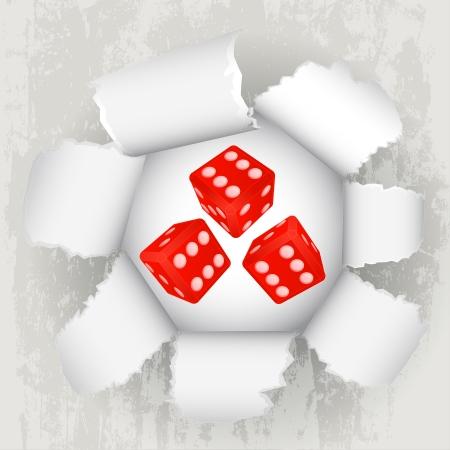 torn paper revelation of dice luck Stock Vector - 21660267