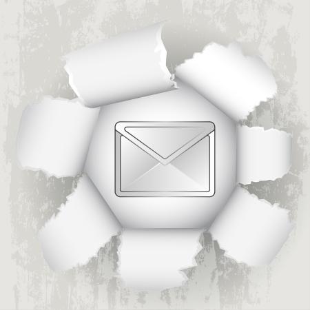 revelation: torn paper revelation of email message  Illustration