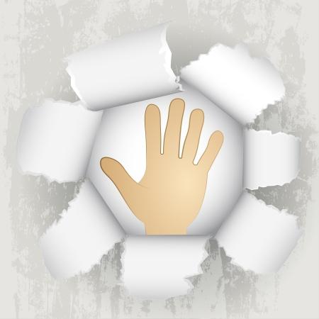 torn paper revelation of human hand help  Stock Vector - 21660276