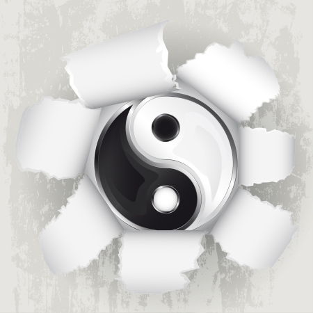 torn paper revelation of yin and yang harmony  Vector