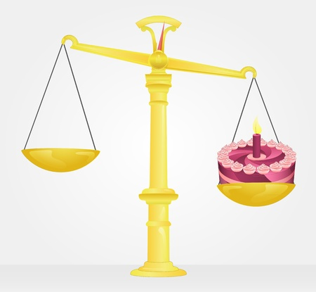 weight measure of birthday cake  Vector
