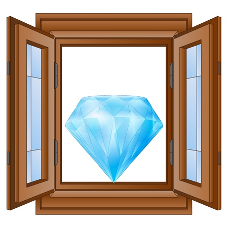 open window to luxurious diamond wealth  Vector