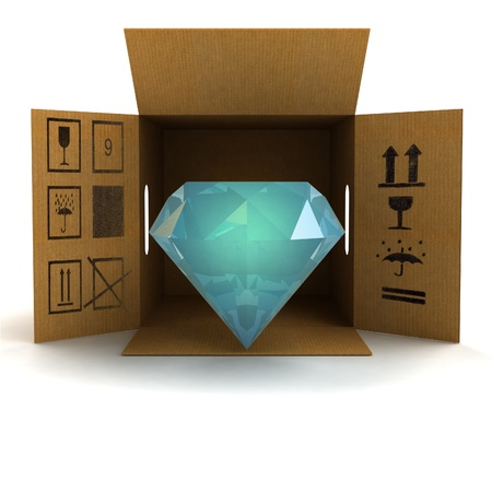 jewel box: luxurious diamond product safety delivery illustration