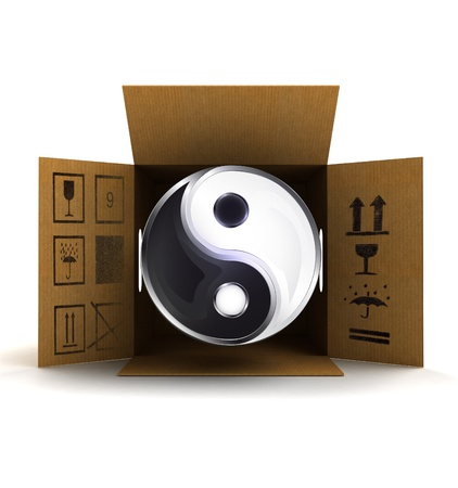 yin and yang harmony in package delivery illustration illustration