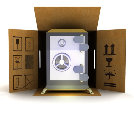 locked door: security vault product delivery illustration Stock Photo