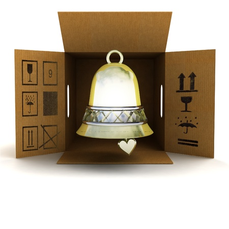 holly day: golden holiday bell product delivery illustration Stock Photo
