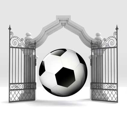 place of worship: divine football sport in heavenly gate illustration Stock Photo