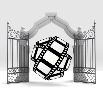 place of worship: divine movie tape in heavenly gate illustration Stock Photo