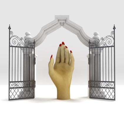 place of worship: divine hand help in heavenly gate illustration